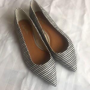 Seychelles leather back white striped flat Sz 8.5